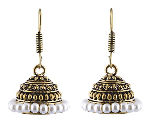 Shimmer's Oxidized Gold Jhumki Earrings with White Pearls for Women  available at amazon for Rs.89