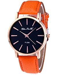Ladies Watch Leather Band Analog Quartz Watch Moonuy Women Lady Women Girls Ladies Fashion Jewelry Watches Wristband Casual Leather Strap Analog Quartz Round Watch and Leather Strap