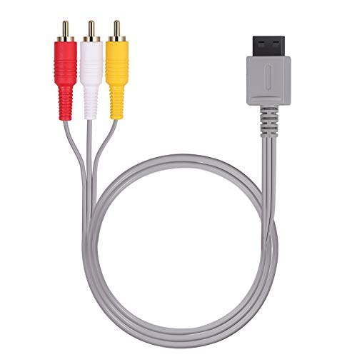 AUTOUTLET WII Audio Video Kabel, Audio Video AV Kabel für Nintendo WII U, 6FT 1,8 m Retro 3 RCA vergoldetes Nintendo WII Audio Video AV-Kabel Kordel