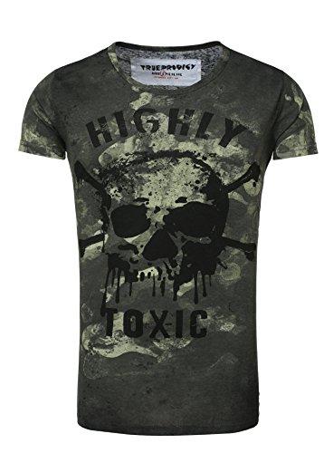 True Prodigy Herren T-Shirt GOAR Vintage Look Langer Schnitt Totenkopf Toxic Sommershirt Camouflage Style khaki M (True Khaki)