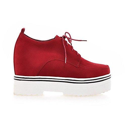 AllhqFashion Femme Rond à Talon Haut Dépolissement Couleur Unie Lacet Chaussures Légeres Rouge