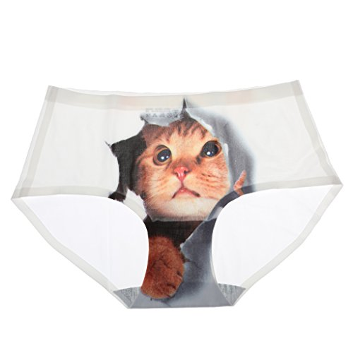 Sharplace Biancheria Intima Mutande Underwear 3D Gatto Stampati per Donna Bianco