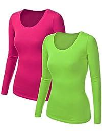 3df2966315718d 2x Damen Langarm T-Shirt - Basic TShirt - Basis Bluse - Tshirt - 2er
