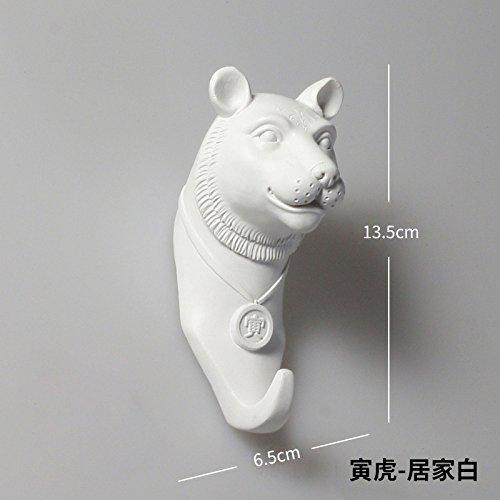 Powzz ornament modern new chinese style dodici zodiaco testa di animale gancio, porta del bagno cucina, vestiti, cappello gancio, decorazione della parete, decorazione della parete, tigre