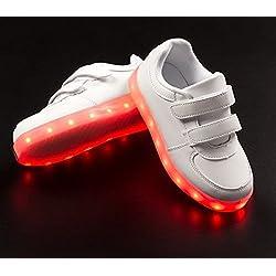 Bitblin Glow Flow Zapatillas Deportivas LED, Unisex Niños, Blanco, 25