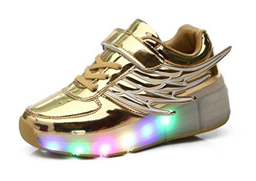 Mr.Ang Skateboard Schuhe mit LED 7 Farbe Farbwechsel Lichter blinken Räder SchuheTurnschuhe Jungen und Mädchen Flügel-Art Rollen Verstellbare neutral Kuli Rollschuh Schuhe (33 EU Fußlänge:215mm, Gold) (Gute Skateboard-schuhe)
