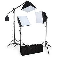 TecTake® Komplettes Profi Fotostudio Set inkl Leuchtmittel Studioset Softbox Studioleuchten ALU Studiolampe Galgenstativ Stativ Photo + Tasche