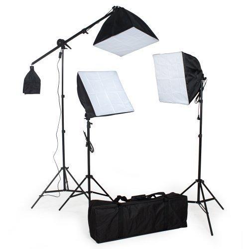 TecTake® Studioleuchten Set - 3 x Softbox inkl. Stativ, Leuchtmittel und Zubehör