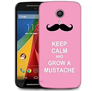 Snoogg Keep Calm And Grow A Mustache Designer Protective Phone Back Case Cover For Motorola G 2nd Genration / Moto G 2nd Gen