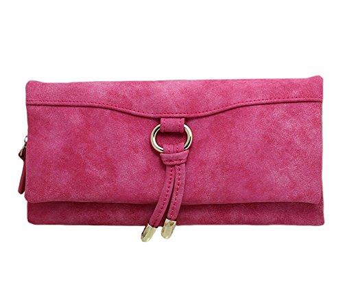 Pu In Pelle Lunga Cerniera Borsa Del Portafoglio Delle Donne Lady Portafogli rosa rossa