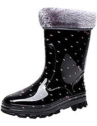 LvRao Botas de Agua de Lluvia el Tacón Alto de las Mujeres   Boots Impermeable Botas Largas de los Tobillo Botines