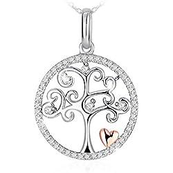 """Collier, J.Rosée Argent 925, Bijoux Femme/Fille, 5A Zirconium cubique Blanc, Chaîne 45+5cm, Cadeau avec Paquet Exquis""""L'arbre de Vie"""""""