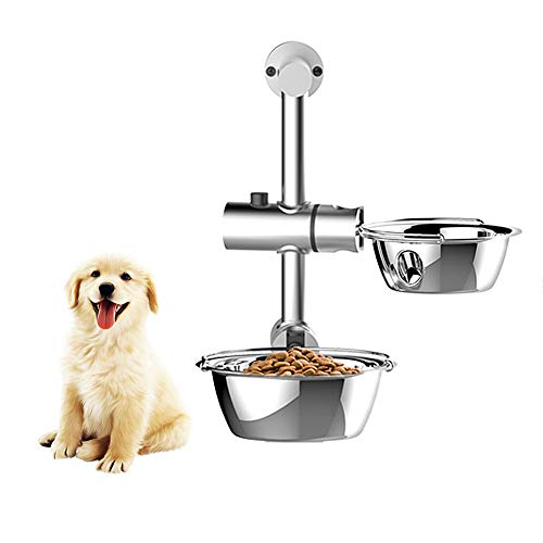 XXDYF Hundenäpfe Edelstahl Futternapf, Verstellbare Hängende Haustier-Futterstation mit Napfständer und 2 Hundenäpfen für Hunde