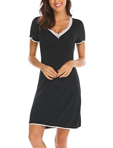 Lace Trim Mädchen Kurze (UNibelle Damen Nachthemd Kleid Nachtwäsche Negligees Kurzarm Mit Spitzenbesatz, Typ2_Schwarz, XL)