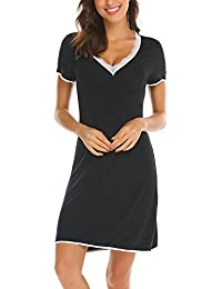 Unibelle Damen Nachthemd Kurzarm Mit Lace Trim V-Ausschnitt Nachtwäsche Baumwolle Lounge Nachtkleid