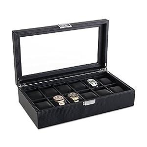 SWEETV Uhrenbox für 12 Uhren Schwarz Uhrenkasten PU-Leder Uhrenkoffer Uhrenschatulle Uhrenaufbewahrung