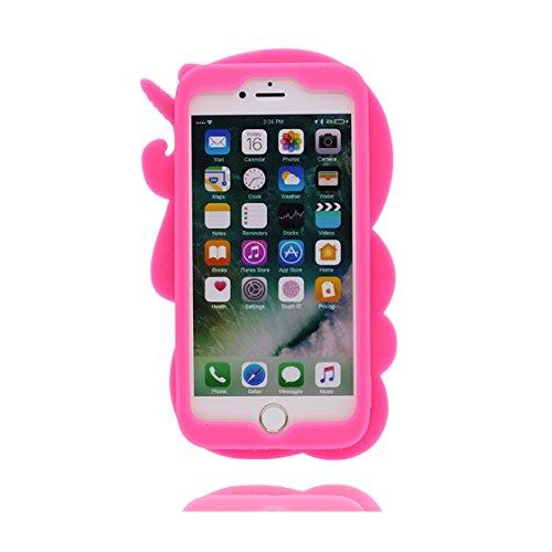 iPhone 6s Custodia, Protezione protettiva TPU Soft Case / Design morbido Copertura per iPhone 6S / 6 4.7 / Cover Cartoon 3D unicorno unicorn Rosa