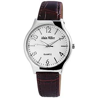 Alain Miller Herrenuhr analog Armbanduhr Silberfarbig Quarzwerk und Metallgehäuse rund 38mm x 7mm Kunstlederarmband Braun 22cm x 18mm Dornschließe und Ziffernblatt in weiß RP4032200003