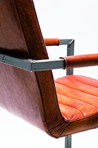 Kare Freischwinger Riffle Buffalo Brown, Moderner Esszimmerstuhl mit Armlehne im Retro-Design, Bequemer Echtlederpolsterstuhl, Braun, (H/B/T) 85x55x61cm