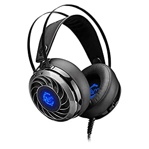 KARTELEI Gaming Headset 3,5 mm Surround Stereo Sound Soft Speicher Ohrenschützer Mic für Laptop-Computer, PS4 Wired Gaming-Kopfhörer (Color : Black)