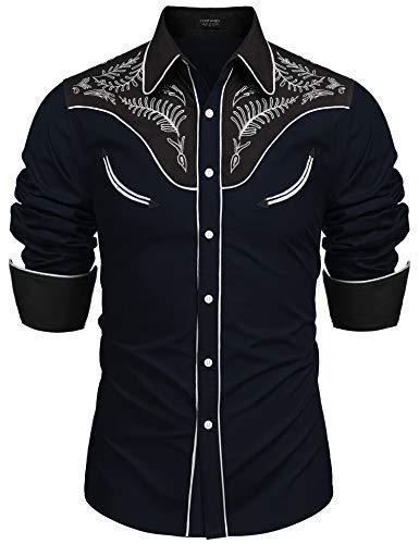 Coofandy Herren Baumwolle gesticktes Hemd-beiläufige Lange hülsen-Tasten-Nieder-Hemden mittel 1-Marine-blau -