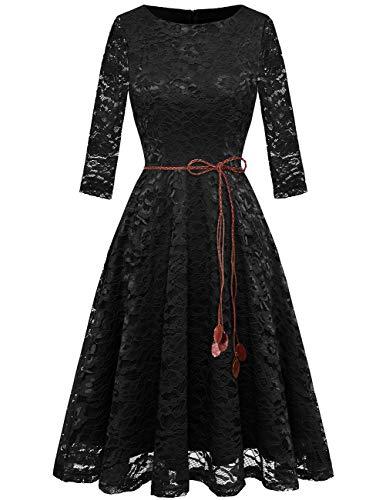 bridesmay Damen Spitzenkleid 3/4 Ärmel Prinzessin Blumen Abendkleid Brautjungfernkleider Black S