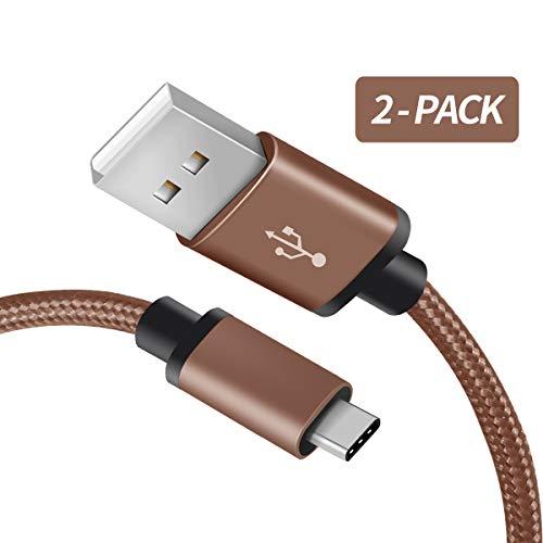 F&ro Für Samsung Note 8 USB C Ladekabel, [2-Pack 2M] Nylon USB Typ C Kabel für Samsung Galaxy Note 9 / S9 / S8, Pixel 3/2, LG G6, Xiaomi Mix 3 / 2s / 8, Moto Z & mehr (Dunkelbraun)