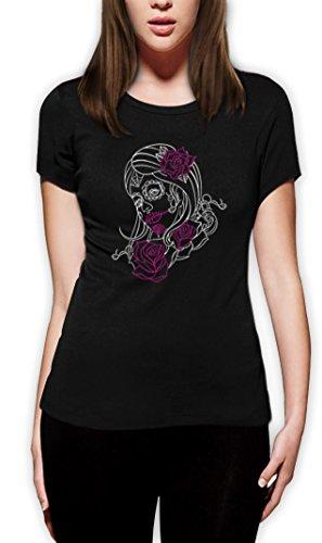 stripe Motiv Frauen T-Shirt XX-Large Schwarz (Sugar Skull Kostüme Ideen)