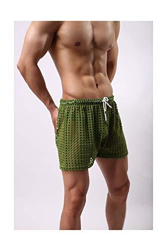 Auspiciousi 1 Stücke Männer Transparent Mesh Shorts Mesh Sheer Durchsichtig Schlaf Bottoms Nachtwäsche Home Wear - Mesh Sheer Shorts