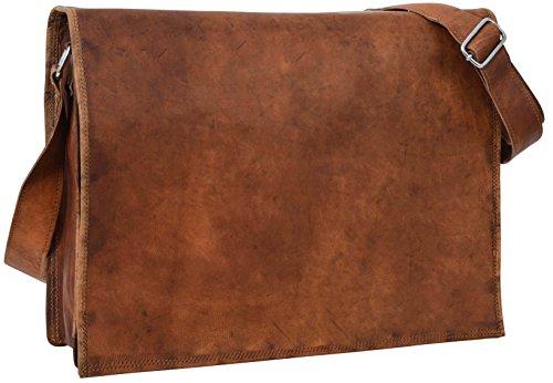 """Gusti Leder nature """"Max"""" Umhängetasche 37 cm x 28 cm x 10 cm Laptoptasche 15,4"""" College Ledertasche Vintage Braun U4"""