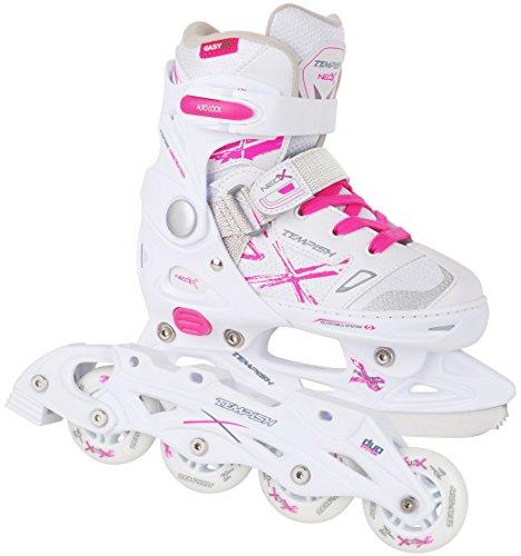 2in1 Schlittschuhe Inliner ABEC5 pink weiß Gr. 29-32, 33-36, 37-40 verstellbare Mädchen Skates (37-40)