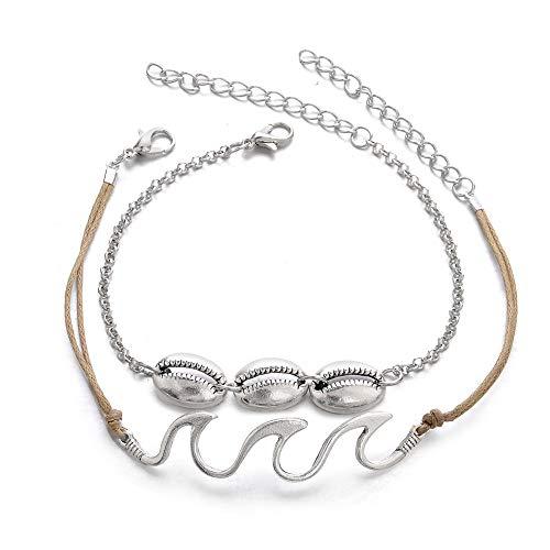 TAOtTAO Ankle Chain 2PC Böhmen-Wellen-Fußkettchen-Legierungs-Armbänder für Frauen-Seil-Strand-Fußkettchen-Schmucksachen