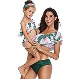 FeelinGirl Madre E Hija Bikini De Dos Piezas Floral Estampado Volantes Bañador Bandeau Sexy + Triángulo Bragas De Cintura Alta Conjunto De Traje De Baño para Familia Verano Playa (Sin Diadema)