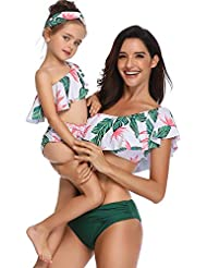 d7242e621 FeelinGirl Madre E Hija Bikini De Dos Piezas Floral Estampado Volantes  Bañador Bandeau Sexy + Triángulo