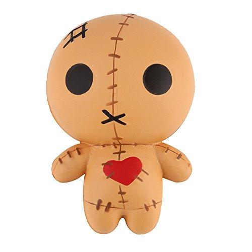 Anboor Squishies Puppe Geisterpuppe Chucky Langsam Steigend Squeeze Spielzeug Slow Rising Antistress Squishies Spielzeug Kawaii für Kinder Erwachsene (Braun, 8*6*12cm, 1 Stück)