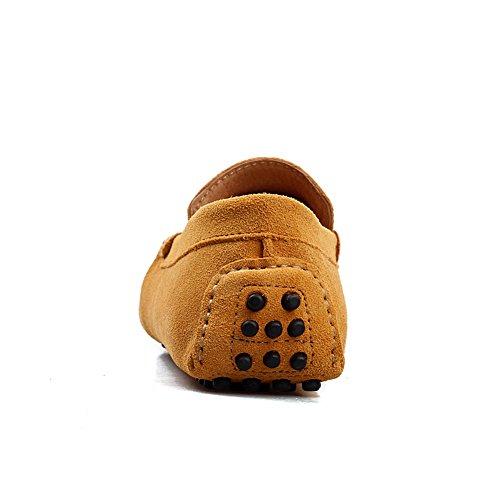 Icegrey Homme Décontracté Suede Cuir Mocassins Tassel Chaussures Jaune