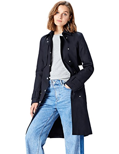 Damen Trench Coat Blau