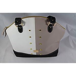 trendige Handtasche Schwarz/Weiss/beige mit Nieten
