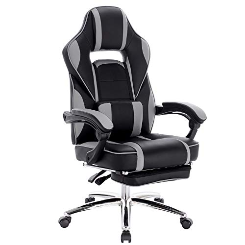 WOLTU Gaming Stuhl Racing Stuhl Bürostuhl Chefsessel Schreibtischstuhl Sportsitz mit Ledenkissen, mit Fußstütze, Kunstleder, höhenverstellbar, Grau, BS25gr