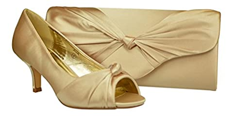 Chic Feet Womens Champagne Prom Wedding Bridal Ladies Peep Toe Low Heel Party Court Shoes & Matching Bag - Size