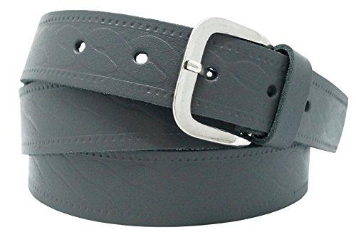 Cinturón de cuero real para mujeres y hombres - Ancho 4 cm - Negro/Marrón / Rojo/Blanco / Gris/Burdeos - Hecho en Alemania (90cm, Gris 1)