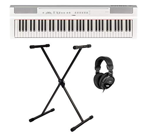 Yamaha P-121WH Stage Piano Set (73 anschlagdynamische Tasten auf (GHS) Tastatur, interne Bass & Schlagzeugspuren sowie Tisch EQ'-Funktion, Set inkl. X-Keyboardständer & Kopfhörer) Weiß