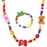 #4: El regalo's Colorful Butterfly Wooden Beads Jewelry Set for Girls Kids & Baby Girls | Necklace & Bracelets for Little Girls