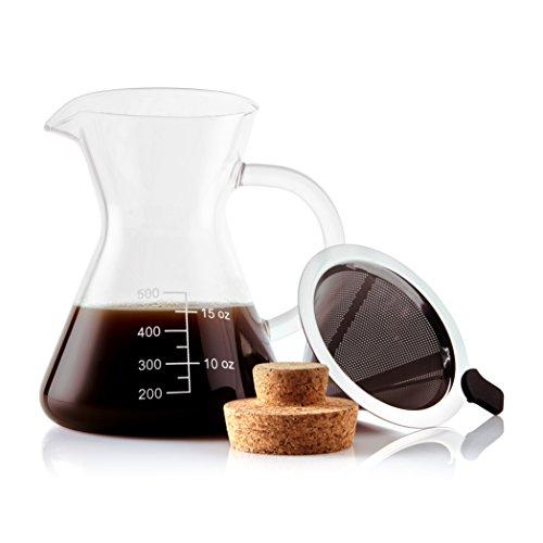 Apace Living SultryBrew Pour Over Kaffeebereiter inkl. Kaffeeschaufel und Korkdeckel Eleganter Handfilter für Filterkaffee mit Glaskaraffe & Permanentfilter aus Edelstahl (500 ML)