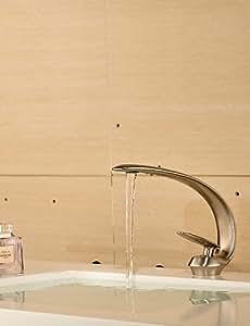 zeitgenössische Nickel schlanke Form einzigen Handgriff ein Loch heißes und kaltes Wasser Waschbecken Wasserhahn - Antik Silber