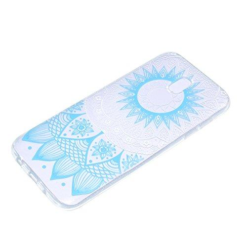 Hülle für Samsung Galaxy J7 2017, Case Cover für Samsung Galaxy J7 2017 [Scratch-Resistant] , ISAKEN Ultra Slim Perfect Fit Malerei Muster Weiche TPU Silikon Durchsichtig Transparent Protective Rückse Blume Blau