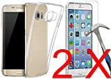 NONOAL Lot Pack 2 Vidrio Templado + Funda Carcasa Compatible con Samsung Galaxy j4 Plus Funda Silicona Transparente