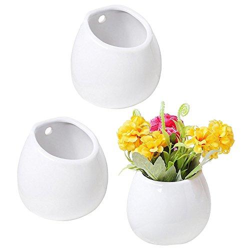 SODIAL Set von 3 Mini weiss Keramik Wandmontage Pflanzenvase, 4 Zoll haengenden saftigen Toepfen