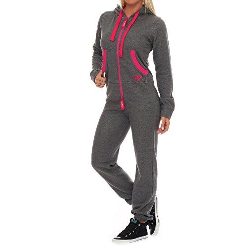 99U2 Finchgirl Pinked Damen Jumpsuit Jogger Einteiler Jogging Dunkelgrau