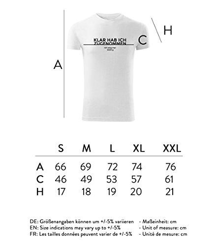 Herren Shirt Klar hab ich zugenommen schwarz & weiß Motiv - T-Shirt Poloshirt mit Motiv - Neu S - XXL Weiß